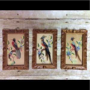Folk art wood carved feather birds wall VTG frame